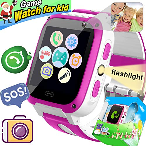 [2019 New Upgrade] Kids Game Smart Watch Phone, Holiday Birthday Gifts Girls Boys SIM 2 Way Call SOS Smart Watch for Kids with 9 Puzzle Game Camera 1.54'' Alarm Timer Electronic Learning Toys