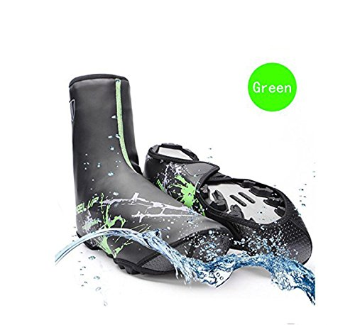 V-Best Bike Shoe Covers, Outdoor Sports Cycling Shoe Covers Waterproof Warmer Overshoes Shoe Cover for Men Women MTB Winter Rain Cycle Bicycle Mountain Road Toe Cover (Green, Standard Size)