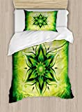 Ambesonne Lotus Duvet Cover Set Twin Size, Psychedelic Floral Mandala Ethnic Meditation Mystic Sacred Digital Image, Decorative 2 Piece Bedding Set with 1 Pillow Sham, Emerald Lime Green