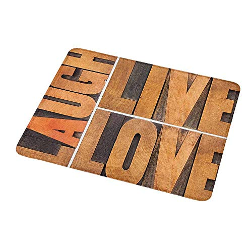 Natural Rubber Mouse Pad Live Laugh Love,Macro Calligraphy with Life Message Inspirational Digital Graphic,Pale Caramel Umber,Standard Size Rectangle Non-Slip Rubber Mousepad 9.8