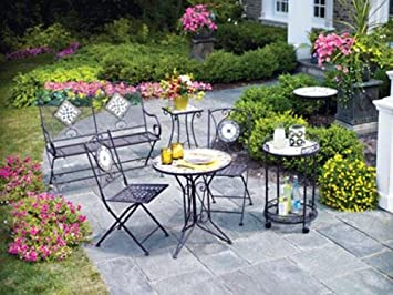 Living Accents Slate Bistro 3 Piece Set (One Table And Two Table Chairs)