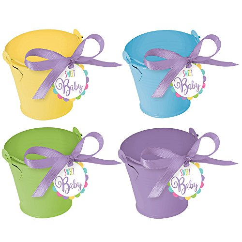 Amscan Adorable Assorted Pastel Mini Metal Pail Party Favors Kit (18 Count), 5.5 x 6, Green/Purple/Yellow ()