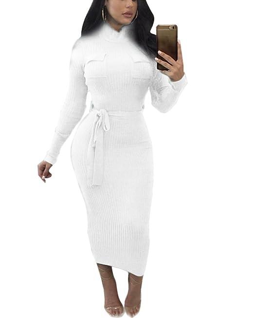 1caae31b18c5e ... Donna Sexy Bodycon Vestiti Inverno Primavera Rotondo Collo Manica Lunga  Vestito Maglieria Pullover Jumper Maglione Abito Lungo  Amazon.it   Abbigliamento
