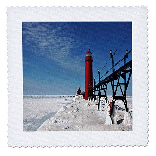 3dRose Dreamscapes by Leslie - Scenery - Grand Haven Michigan Lighthouse and Ice House - 10x10 inch quilt square (qs_314258_1)