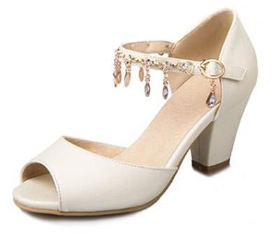 d260af73029d SFNLD Women s Elegant Rhinestone Peep Toe Buckle Strap Medium Block Heels  Sandals Beige 4 B(