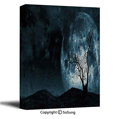 Fantasy Canvas Wall Art,Night Moon Sky with Tree Silhouette Gothic Halloween Colors Scary Artsy Background,Modern Living Room Office Wall Art Bedroom Decoration Ready to Hang,32x48 inch]()