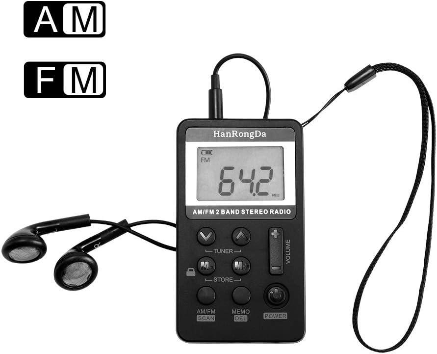 Am FM Radio Pequeña Portatil,Frontoppy Mini Radio Receptor FM Reloj Indicador LED, USB/Batería para Caminar Senderismo Running (8.5 * 4.9 * 1.3cm)