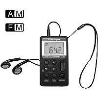 AM FM Pocket Radio, ALLOMN Portable Digital Tuning AM FM Stereo Radio Rechargeable Battery, LCD Display Earphone Walking (Black)