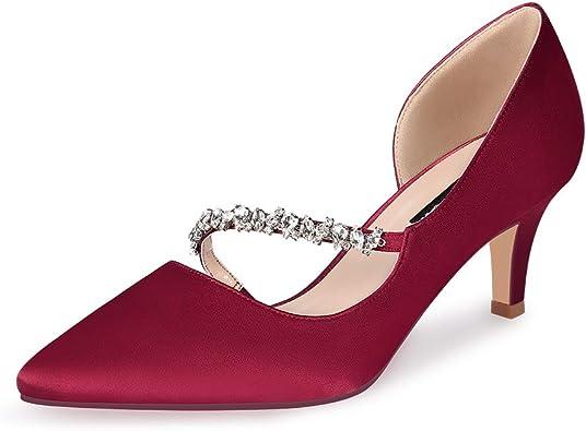 Womens Diamante Pointed Toe Bridesmaid Shoes Ladies Wedding Banquet Formal Pumps