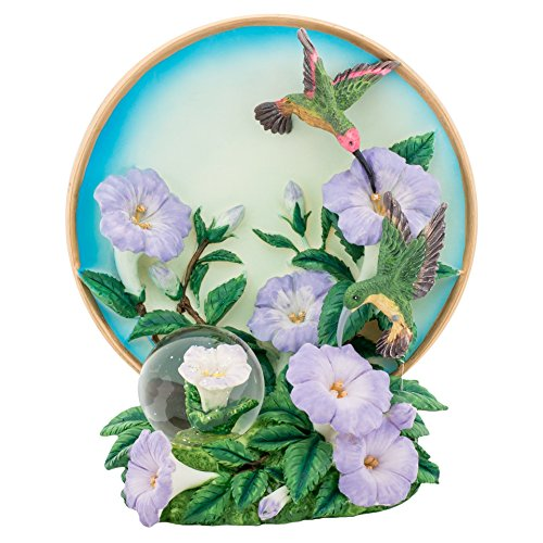 Hummingbird Flower 6 inch Plate and Miniature 45MM Water Globe Figure Set of 2