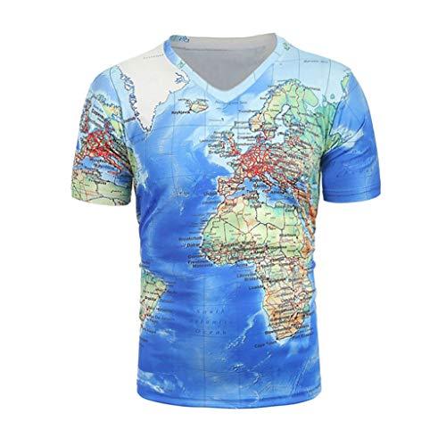 Men's Short Sleeve T-Shirt Cool World Map V-Neck T-Shirt Creative 3D Print Blouse Tops Tees Summer (S(4), Blue)