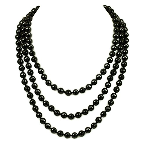 044 Ny6design Gorgeous! Round Black Onyx Long Hand-Knotted Necklace 60