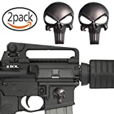 #6: Creatrill 2 Pack Magwell Metal Decal Sticker - Punisher Skull 1 inch by 1.38 inch