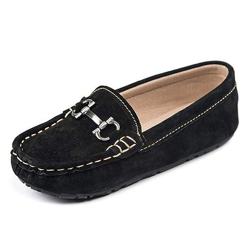 Mocasines de Penny Casual del niño de Gamuza de la Muchacha de Cuero Genuino de conducción Zapatos del Barco del niño de Loafer con decoración de Metal!: