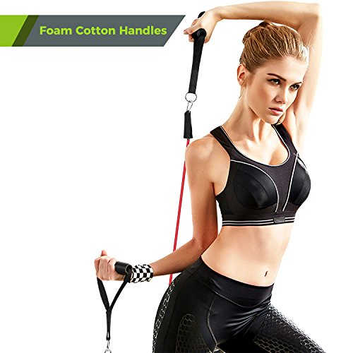Resistance Band Set, Leekey 11pc Exercise Bands Workout bands with Carry Bag, Door Anchor, Handles, Ankle Straps for Body Stretching Physical Therapy and Resistance Training by  (Image #2)