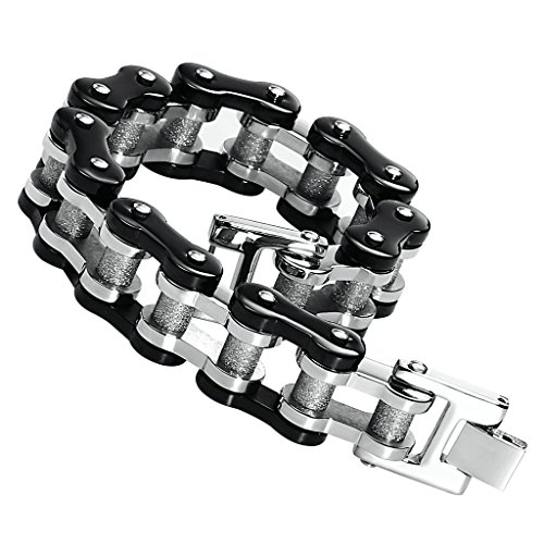 Men's Stainless Steel Heavy Strong Bracelet Bike Chain Black Gold Two Tone - India Day Louisville