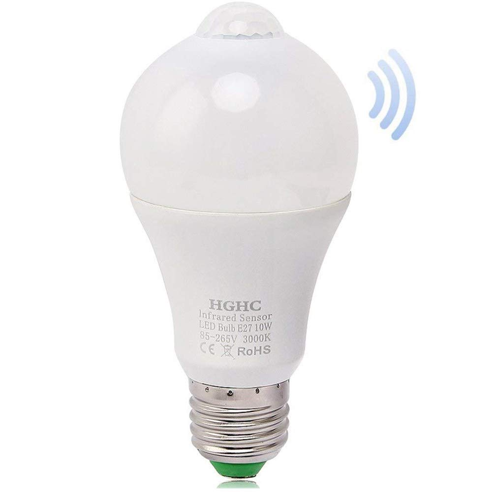 Infrared Motion Sensor Light Bulb LED A19 10W E27 6000K Cool White Auto On/Off Night Lights for Stairs Garage Corridor (Cool White) [Energy Class A++] HGHC
