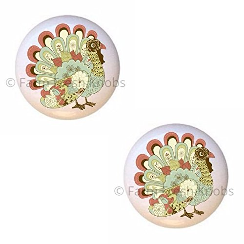 (SET OF 2 KNOBS - Beautiful Turkey Design #zJ7jH9Od - Turkeys - DECORATIVE Glossy CERAMIC Cupboard Cabinet PULLS Dresser Drawer KNOBS)