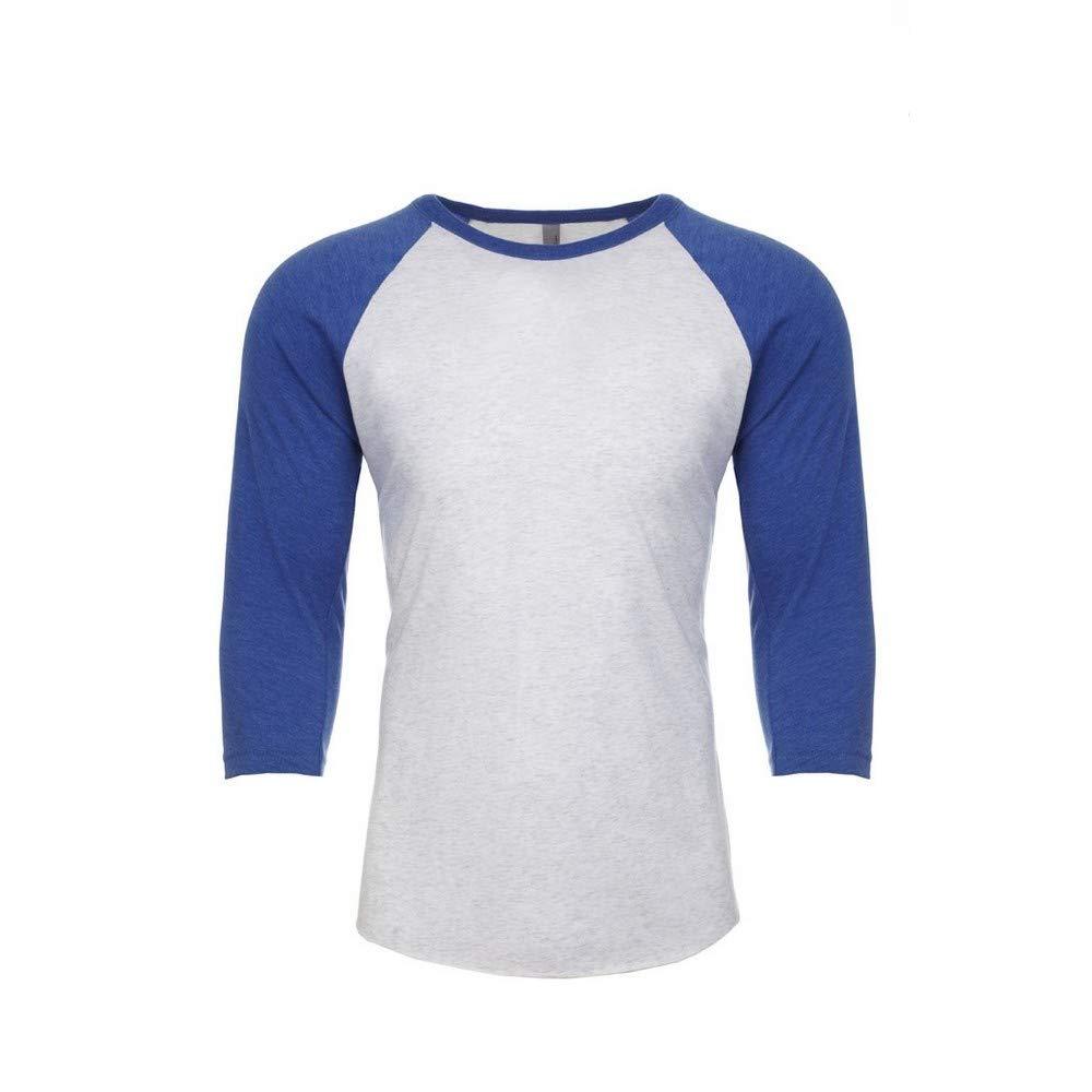 L Vintage Navy//Premium Heather Next Level Adults Unisex Tri-Blend 3//4 Sleeve Raglan T-Shirt