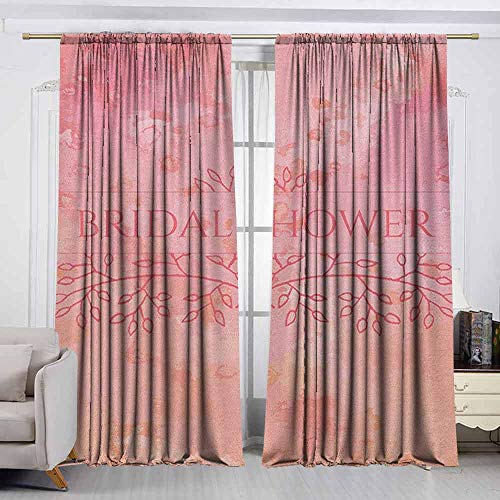 - VIVIDX Waterproof Window Curtain,Bridal Shower,Bride Invitation Grunge Abstract Backdrop Floral Design Print,Darkening and Thermal Insulating Draperies,W72x45L Inches Pale Pink and Salmon