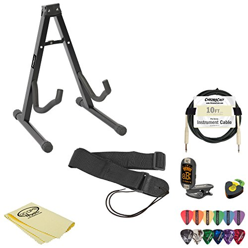 Electric Guitar Accessory Pack w/ Stand, Strap, Cable, Pick Holder, Tuner, Cloth, Picks & Online Lesson