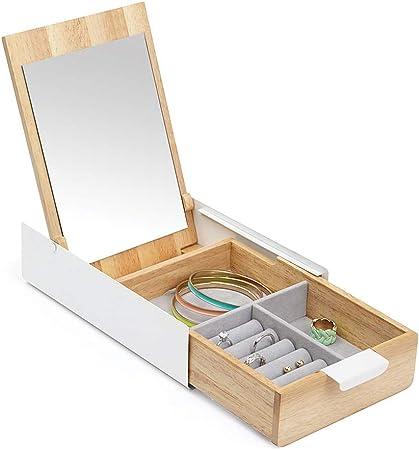Caja de joyería Caja de exhibición de joyería Caja de almacenamiento de madera de gran capacidad para joyería Caja de exhibición con tapa corredera Decoración de mesa de decoración Caja de almacenamie: