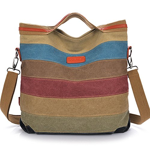 Stripe Large Tote Bag Colorful Canvas Women Shoulder Bag by MINGCHEN