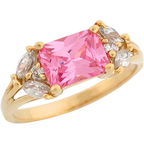 Jewelry Liquidation 10k Yellow Gold Pink Octagon Marquise and Round White CZ Accent - Ring Tourmaline Marquise