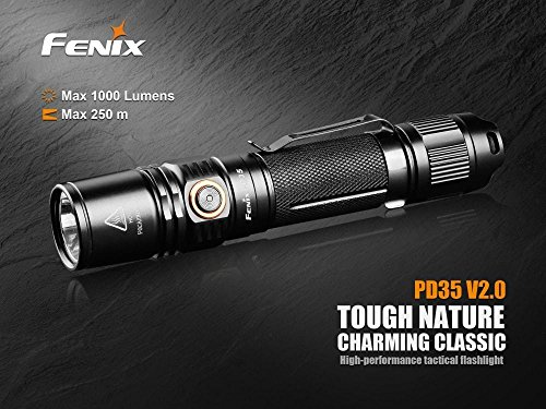 Fenix PD35 V2.0 2018 1000 Lumen Flashlight rechargeable bundle with Fenix USB Rechargeable 3500mAh li-ion Battery & EdisonBright battery carry case by EdisonBright (Image #1)
