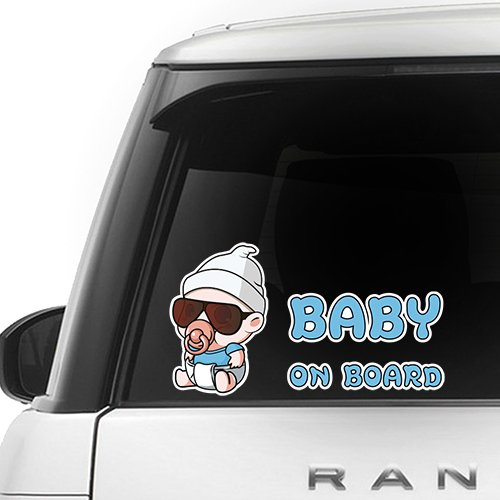 [CUSTOMI] Carlos Hangover Baby on Board ENG-CARLOS-001 - Full Color Car Window Safety Sign Decal Sticker - Baby Blue, White