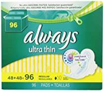 Always Ultra Thin Regular Pads With Wings, Unscented, 96 Count
