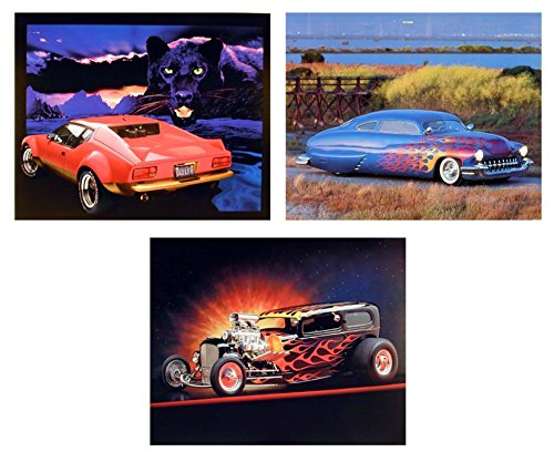 (Wall Decor Picture Ferrari Automobile Ford Vintage Muscle Classic Mercury Car 8x10 Three Set Art Print Posters)