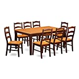 East West Furniture HENL9-BRN-W 9-Piece Dining Table Set For Sale