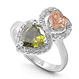 MULTI-COLOR PASTEL Double Heart Linked Simulated Peridot/Rose Pink Ring