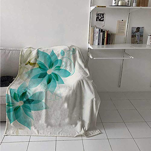 maisi Teal Digital Printing Blanket Vintage Inspired Floral Design with Abstract Vibrant Colored Natural Elements Summer Quilt Comforter 62x60 Inch Turquoise Beige