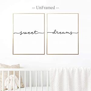 Above Crib Art, Set of 2 Prints, Minimalist Poster, Above Bed Art, Above Crib Decor, Nursery Print, Bedroom Wall Art, Sweet Dreams Print, 11x14 Inch Unframed