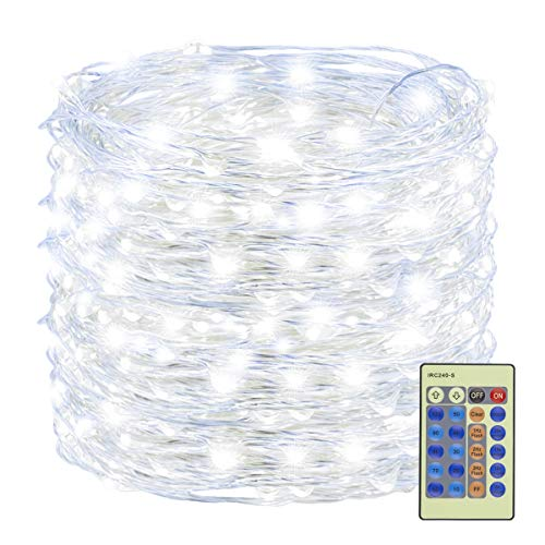 Decute 300 LED Fairy Lights 99ft Silver Wire White Christmas String Lights Remote Control, LED Firefly Lights Starry Light for DIY Christmas Tree Costume Wedding Party Table Centerpiece Decor (Christmas Italian Lights)