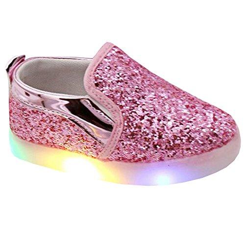 Highdas Niños LED zapatos ligeros Solf Sole Prewalker de la princesa del holgazán Pink
