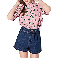 haoduoyi Womens Sweet Preppy Style Cactus Printed Dollar Collar T-shirt Large Pink