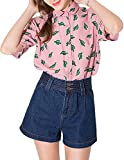 haoduoyi Womens Sweet Preppy Style Cactus Printed Dollar Collar T-shirt X-Large Pink