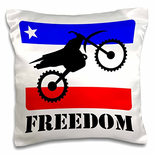 3dRose pc_180541_1 Black and White Distressed Dirt Bike Freedom Vector Graphic Image Pillow Case, 16 x 16