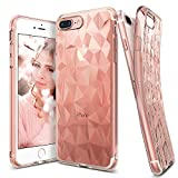iPhone 7 Plus Case, Ringke [AIR PRISM] 3D Vogue Design Chic Ultra Rad Pyramid Stylish Diamond Pattern Jewel-Like Textured Protective TPU Drop Resistant Cover For Apple iPhone 7 Plus - Rose Gold