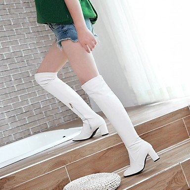 Women's Shoes PU Leatherette Fall Winter Comfort Novelty Fashion Boots Boots Chunky Heel Square Toe Over The Knee Boots Zipper For Party Black NEKUjDtuy