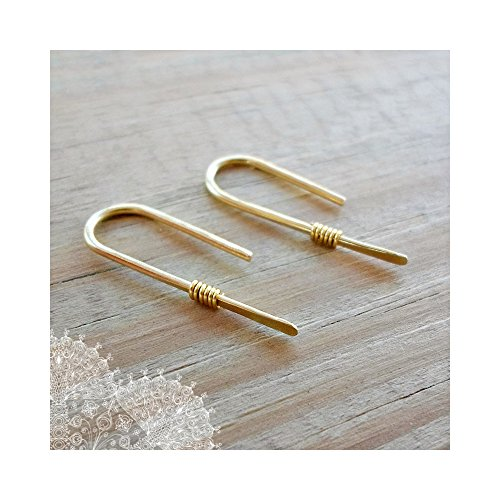 Minimalist Solid Gold Brass 16 Gauge Wire Threader Earrings Valentine's Day (Solid Threader Earrings)