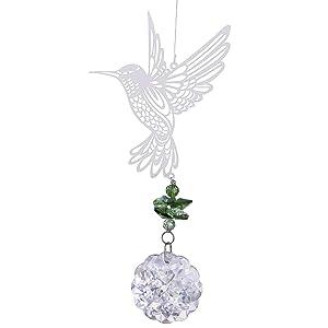 H&D Glass Crystal Flower Prism Rainbow Maker Hummingbird Hanging Window Sun Catcher for Gift