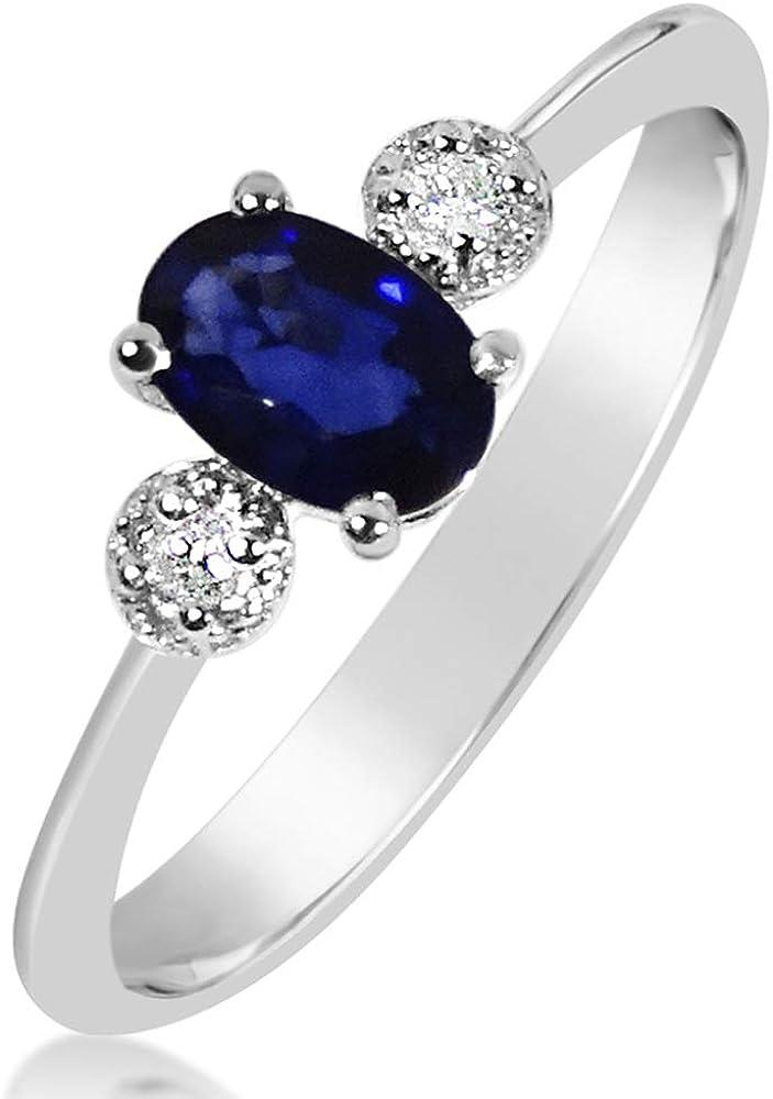 MILLE AMORI ∞ Anillo Mujer Compromiso Oro y Diamantes - Oro Blanco 9 Kt 375 ∞ Diamantes 0.03 Kt - Zafiro Azul 0,6 Kt