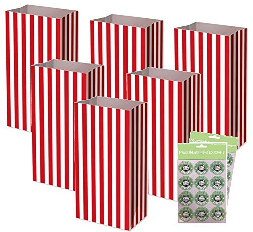 Red Pick n Mix Bags With Sticker Seals – Birthday Party Candy Stripe Large Thick Paper Sweet Bag (60 Bags)