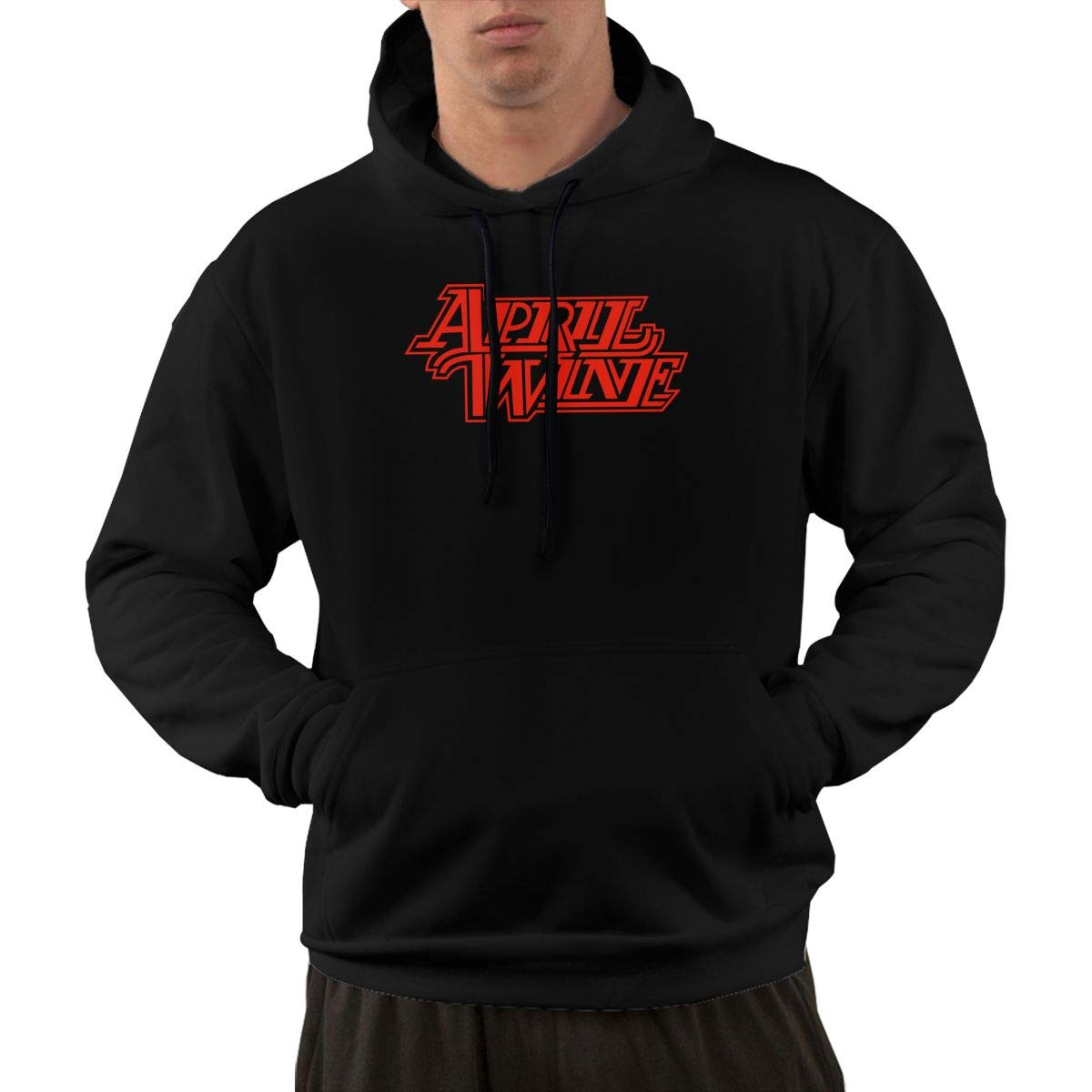 S Pullover Classic Black Print April Wine Hooded Shirts With Pocket L