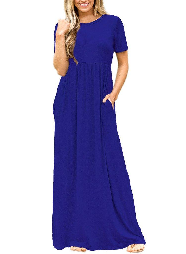 Lovezesent Women's Short Sleeve Round Neck Long Maxi Casual Pocket Dress Medium Blue
