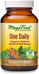 MegaFood, One Daily, Supports Optimal Health and Wellbeing, Multivitamin and Mineral Supplement, Gluten Free, Vegetarian, 60 Tablets